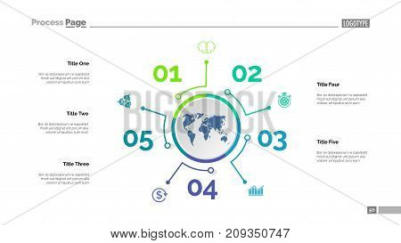 Five options process chart slide template. Business data. Success, model, design. Creative concept for infographic, presentation, report. Can be used for topics like management, finance, banking.