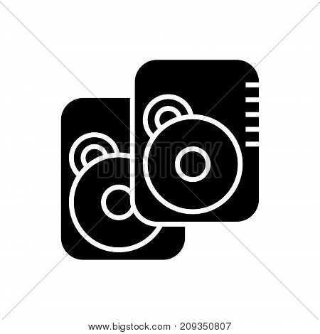 speakers -hard disk icon, illustration, vector sign on isolated background
