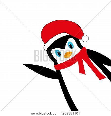 Cartoon New Year's penguin on white background illustration