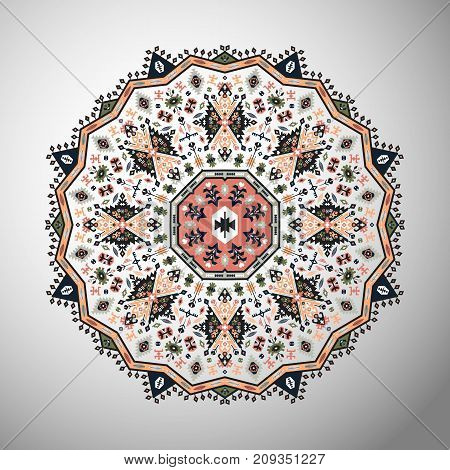 Ornamental colorful round colorful geometric pattern in aztec style