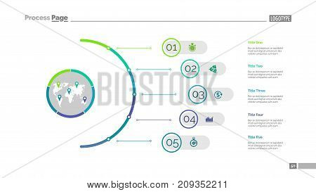 Five steps process chart slide template. Business data. Infochart, plan, design. Creative concept for infographic, presentation, report. Can be used for topics like management, training, logistics.