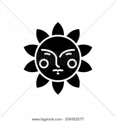 sun face icon, illustration, vector sign on isolated background
