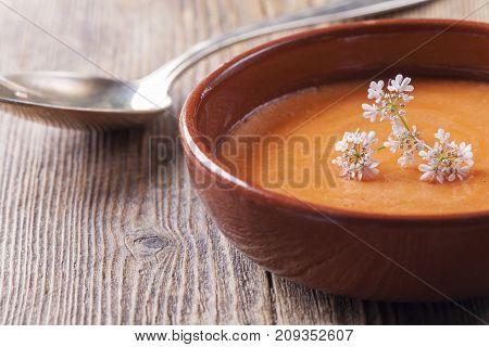 closeup of a spanish salmorejo soup on wood
