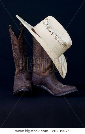 Cowboy Boots And Cowboy Hat Still Life