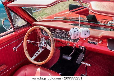 1965 Vintage Ford Mustang Red Interior - Steering Wheel With Logo And Dashboard
