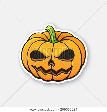Vector illustration. Halloween scary pumpkin with evil smile. Jack-o'-lantern the spooky symbol of holiday. Sticker in cartoon style with contour. Isolated on white background