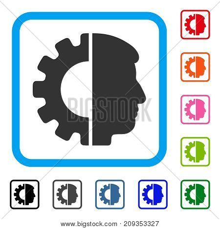 Android Head icon. Flat grey pictogram symbol inside a light blue rounded square. Black, gray, green, blue, red, orange color versions of Android Head vector.