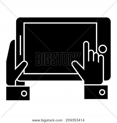 tablet in hands icon, illustration, vector sign on isolated background