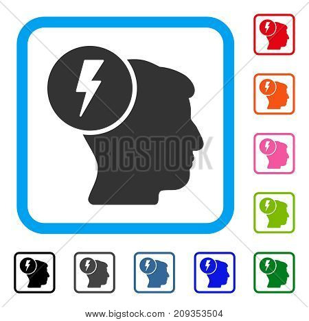 Brain Electricity icon. Flat gray iconic symbol in a light blue rounded square. Black, gray, green, blue, red, orange color additional versions of Brain Electricity vector.