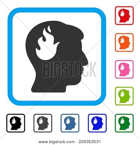 Brain Fire icon. Flat grey pictogram symbol inside a light blue rounded frame. Black, gray, green, blue, red, orange color versions of Brain Fire vector. Designed for web and app user interface.