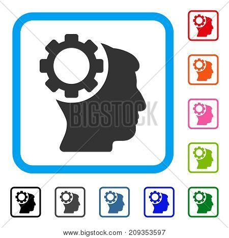 Brain Gear icon. Flat grey pictogram symbol in a light blue rounded rectangle. Black, gray, green, blue, red, orange color versions of Brain Gear vector. Designed for web and app user interface.
