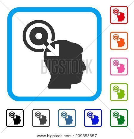 Brain Interface Plug-In icon. Flat grey pictogram symbol inside a light blue rounded rectangle. Black, gray, green, blue, red, orange color versions of Brain Interface Plug-In vector.