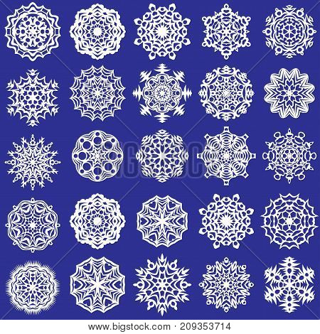set of white snowflakes on a blue background for decoration and decoration, vector