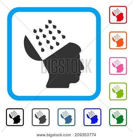 Brain Shower icon. Flat grey iconic symbol inside a light blue rounded rectangular frame. Black, gray, green, blue, red, orange color versions of Brain Shower vector. Designed for web and app UI.