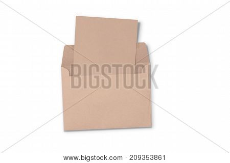 Postcard and Floating Envelope Mockup, blank paper kraft a flyer postcard invitation isolate on white with clipping path.