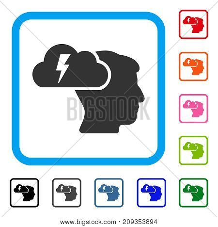 Brainstorming icon. Flat gray pictogram symbol in a light blue rounded rectangular frame. Black, gray, green, blue, red, orange color additional versions of Brainstorming vector.