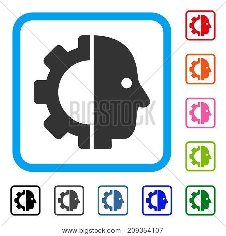 Cyborg Head icon. Flat grey iconic symbol inside a light blue rounded rectangular frame. Black, gray, green, blue, red, orange color versions of Cyborg Head vector.