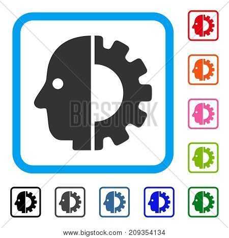 Cyborg Head icon. Flat gray pictogram symbol in a light blue rounded square. Black, gray, green, blue, red, orange color versions of Cyborg Head vector. Designed for web and app interfaces.