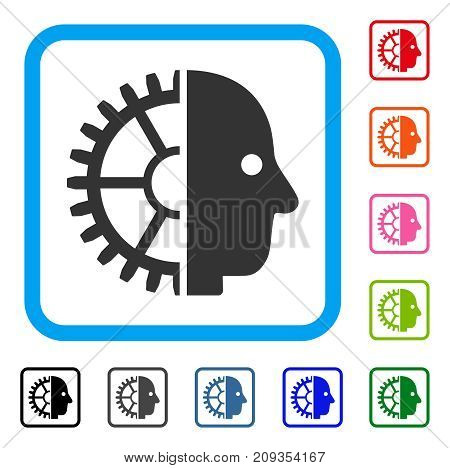 Cyborg Head icon. Flat gray pictogram symbol inside a light blue rounded frame. Black, gray, green, blue, red, orange color versions of Cyborg Head vector. Designed for web and application UI.