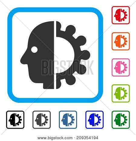 Cyborg Head icon. Flat grey iconic symbol inside a light blue rounded squared frame. Black, gray, green, blue, red, orange color versions of Cyborg Head vector. Designed for web and software UI.