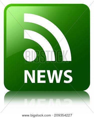 News (rss Icon) Green Square Button