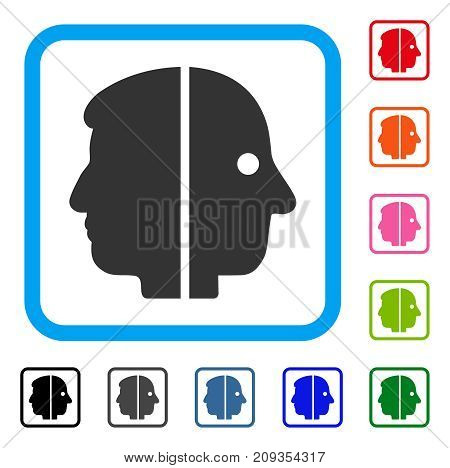 Dual Face icon. Flat grey iconic symbol inside a light blue rounded frame. Black, gray, green, blue, red, orange color variants of Dual Face vector. Designed for web and software user interface.