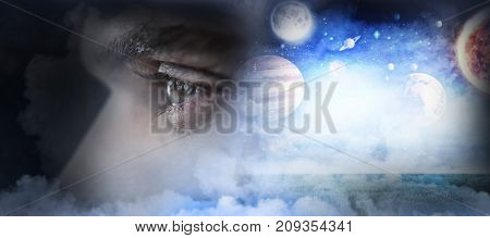 Man with green eyes against composite image of solar system against white background in 3d