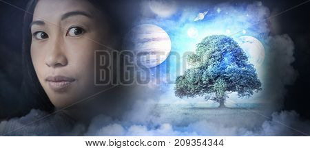 Composite image of solar system in 3d against white background against woman standing against white background