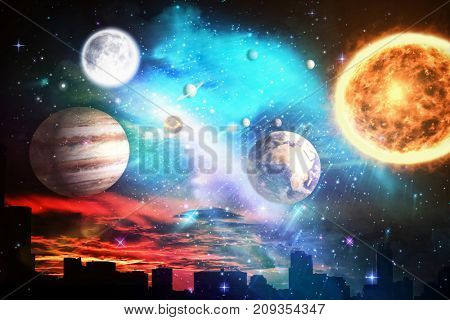 Composite image of solar system against white background against silhouette city against cloudy sky during sunset in 3d