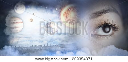 Close up view of a businesswoman looking away against composite image of solar system against white background in 3d