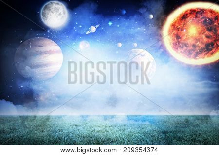 Composite image of solar system against white background against night sky in 3d