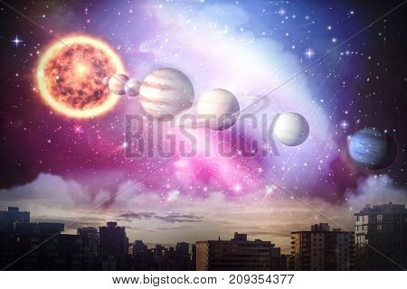 Composite image of planets and sun against city against cloudy sky during sunset in 3d