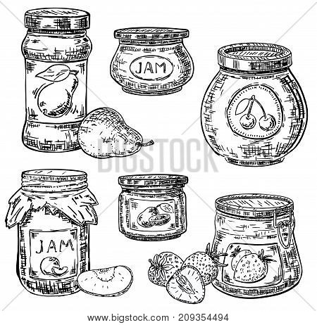Vector ink hand drawn style jam jar icon set. Strawberry, peach, pear, cherry preserves. Jam glass jar with metal cap and kraft paper wrapped lid. Vintage sketch illustration for recipe, menu, print.
