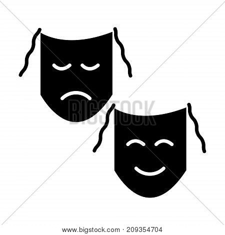theater - masks show icon, illustration, vector sign on isolated background