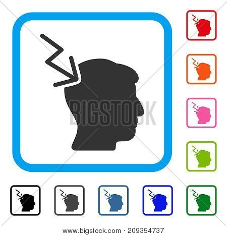 Head Electric Strike icon. Flat grey iconic symbol inside a light blue rounded rectangle. Black, gray, green, blue, red, orange color versions of Head Electric Strike vector.