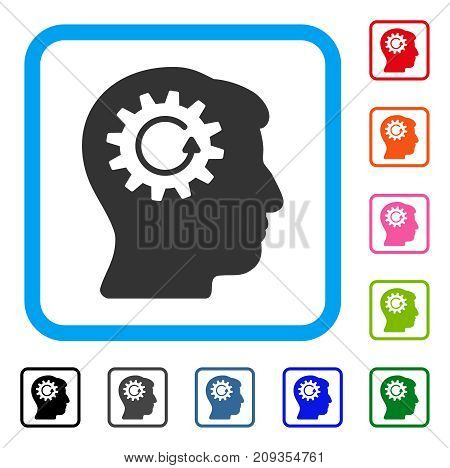Head Gear Rotation icon. Flat gray pictogram symbol in a light blue rounded frame. Black, gray, green, blue, red, orange color variants of Head Gear Rotation vector. Designed for web and software UI.
