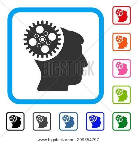 Head Gearwheel icon. Flat gray pictogram symbol in a light blue rounded squared frame. Black, gray, green, blue, red, orange color versions of Head Gearwheel vector.