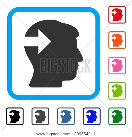 Head Plug-In Arrow icon. Flat gray pictogram symbol in a light blue rounded rectangular frame. Black, gray, green, blue, red, orange color versions of Head Plug-In Arrow vector.