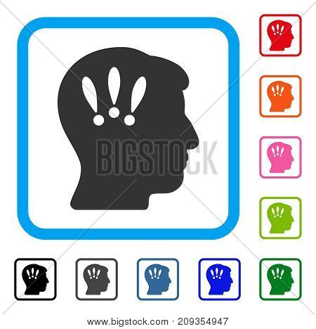 Head Problems icon. Flat gray iconic symbol inside a light blue rounded squared frame. Black, gray, green, blue, red, orange color versions of Head Problems vector.