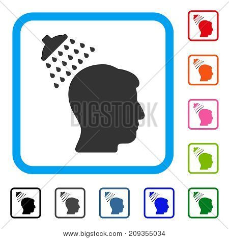 Head Shower icon. Flat grey pictogram symbol in a light blue rounded rectangular frame. Black, gray, green, blue, red, orange color versions of Head Shower vector. Designed for web and app UI.
