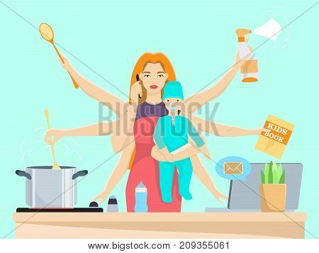 Vector illustration of busy woman with baby. Super mom cooking, cleaning, reading book, playing tennis, using laptop and talking on the mobile phone at the same time. Flat style design.