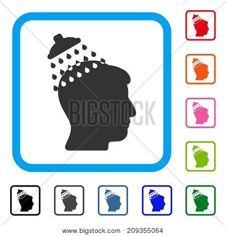 Head Shower icon. Flat grey iconic symbol in a light blue rounded rectangular frame. Black, gray, green, blue, red, orange color additional versions of Head Shower vector.
