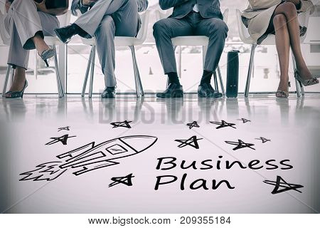 Digital image of rocket and star shapes with business plan text against waiting room with business people