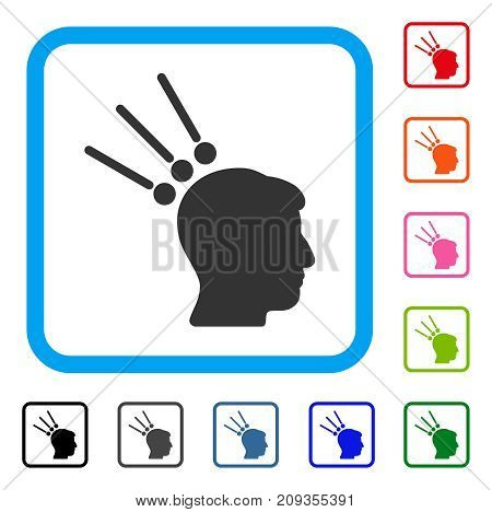 Head Test Connectors icon. Flat gray pictogram symbol in a light blue rounded rectangle. Black, gray, green, blue, red, orange color versions of Head Test Connectors vector.