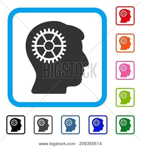 Intellect Cog icon. Flat gray pictogram symbol in a light blue rounded square. Black, gray, green, blue, red, orange color versions of Intellect Cog vector. Designed for web and application UI.