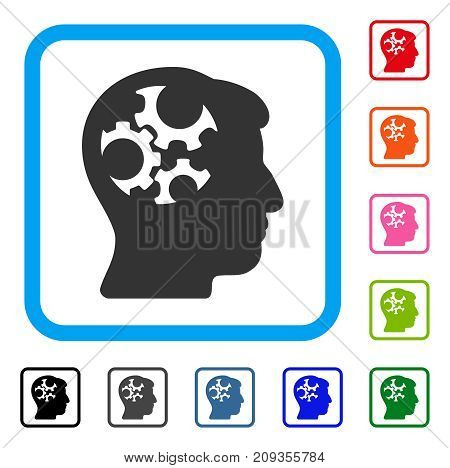 Mind Gears icon. Flat gray iconic symbol inside a light blue rounded frame. Black, gray, green, blue, red, orange color variants of Mind Gears vector. Designed for web and software interfaces.