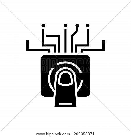 touchscreen technology icon, illustration, vector sign on isolated background