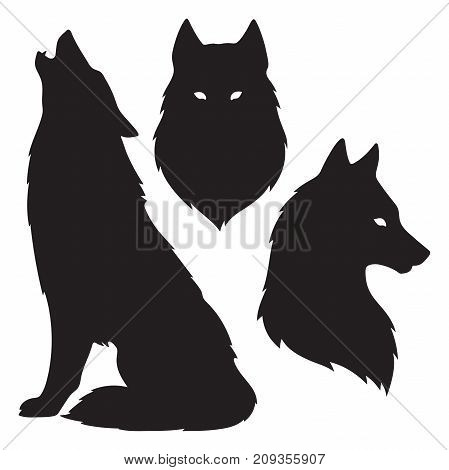 Set of wolf silhouettes isolated. Sticker print or tattoo design vector illustration. Pagan totem wiccan familiar spirit art.