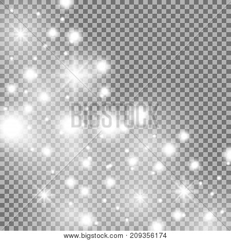 Star way with sparkles on transparent background glitter stars white color