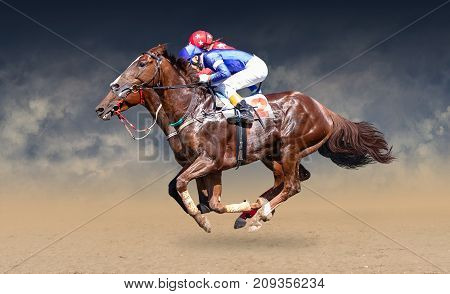 Two racing horses neck to neck in fierce competition for the finish line. Digital collage